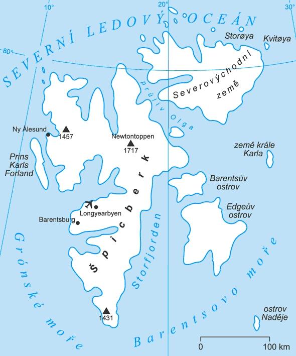Mapa Špicberk