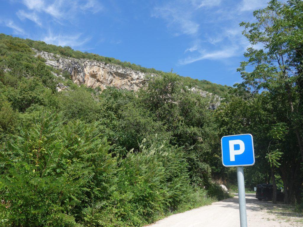 Lezení ve Slovinsku, Mišja Peč - parkoviště
