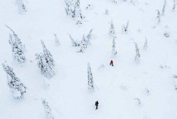 Přechod Malé Fatry na sněžnicích v zimě.