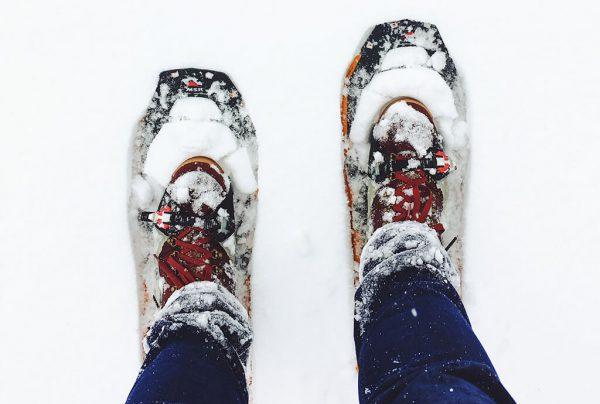 Přechod na sněžnicích.